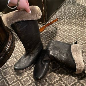 Shearling limes leather slouch boots